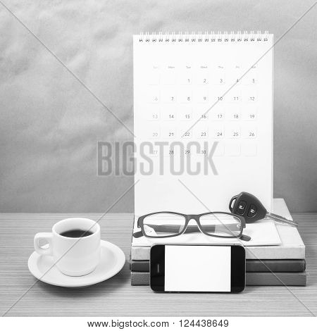 wooden working table with tools for work.black and white colour