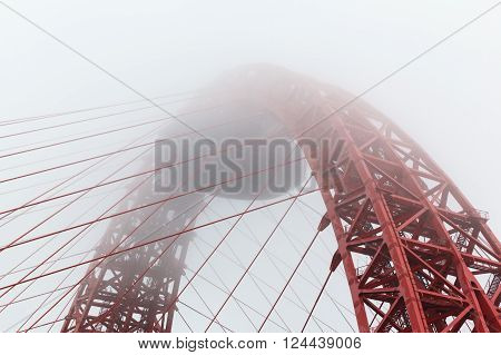 Zhivopisny cable-stayed bridge in  fog of the River Moskva ** Note: Shallow depth of field