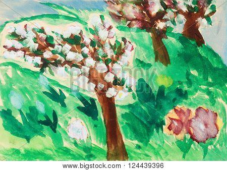 child drawing of apple tree garten  in bloom