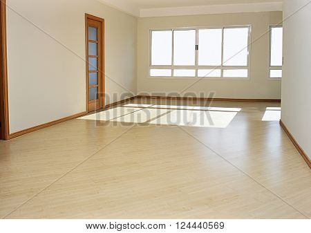 fotogafia apartment room without furniture with paint and new flooring. ** Note: Visible grain at 100%, best at smaller sizes