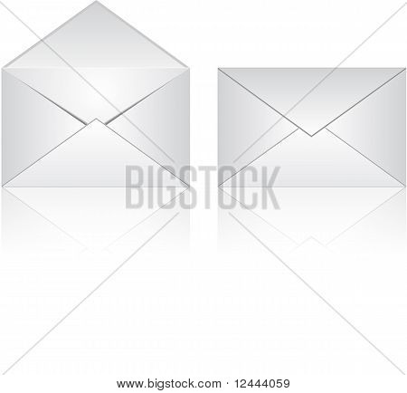 Illustration of Envelopes - Open and Closed