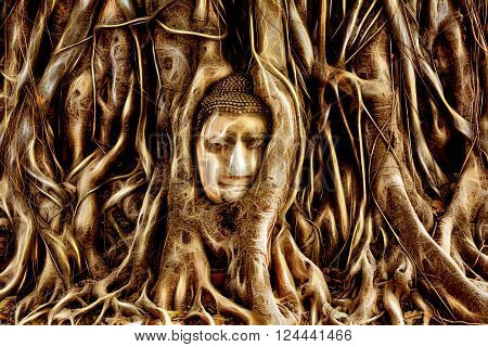 Buddha Head engulfed by tree roots in Historic City of Ayutthaya Thailand.