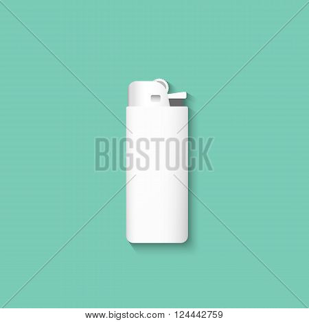 Vector lighters. Lighter isolated on a green background. Template lighter.