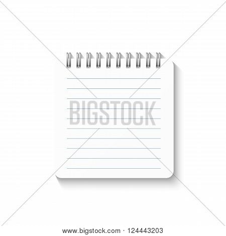 Template with spiral notebook isolated on a white background. School notebook. Diary for business. Notebook cover design. Realistic Notepad. Office stationery items.