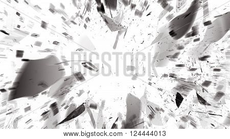 Destructed Or Shattered Glass With Motion Blur On White