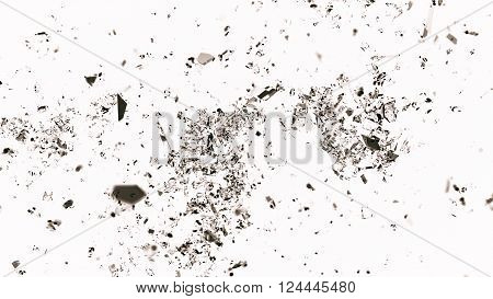 Small Pieces Of Splitted Or Cracked Glass On White