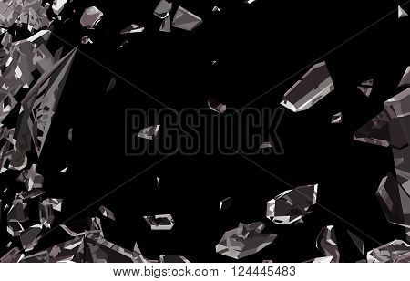 Smashed And Shattered Glass Isolated On Black