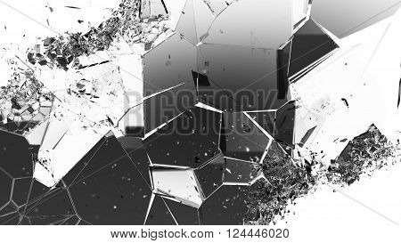 Cracked And Damaged Glass Pieces On White