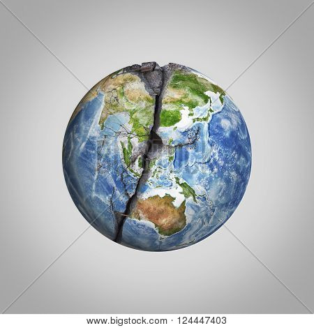 Three-dimensional illustration of damaged Earth planet with crack. Ecological concept. Elements of this image are furnished by NASA