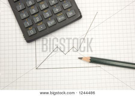 Calculator And Pencil On Sqared Paper