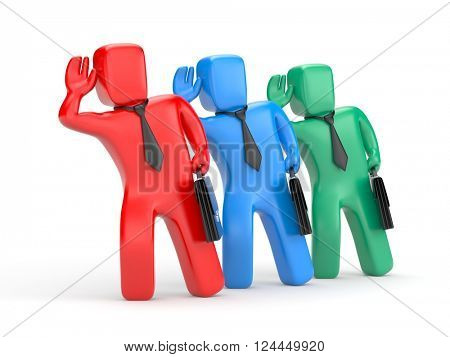 Businessmen eavesdropping. 3d illustration