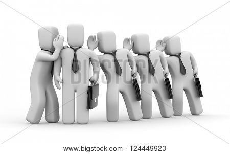 Businessmen spying on other business people. 3d illustration
