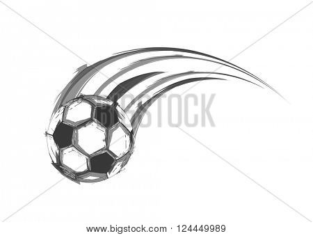 Football or soccer balls with motion trails