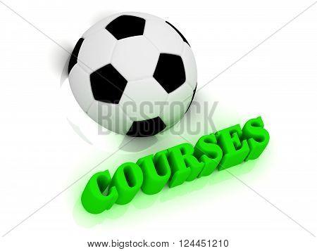 3D illustration COURSES bright volume letter word football half ball on white background