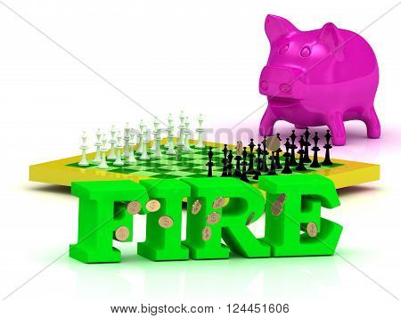3D illustration FIRE bright word money pink piggy yellow chess on white background