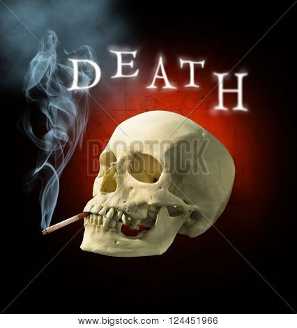 A human skull with a Smoking cigarette with the inscription death