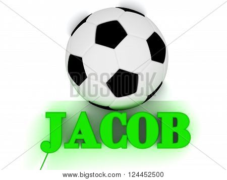 3D illustration JACOB bright volume letter word football big ball on white background