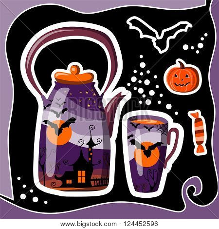 Beautiful Halloween card with teapot cup bat pumpkin and candy. Teapot with drawing of witch house at night and bat on background of the moon. Vector illustration.
