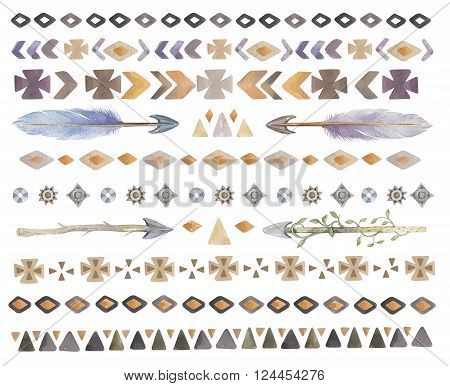 Set of watercolor tribal ethnic aztec boho chic geometric elements hipster logo business label navajo american stile isolated on white background.Watercolour indian traditional ornament. hippie print