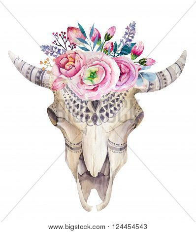 Watercolor cow skull with flowers and feathers decoration. Boho tribal rustic style horn buffalo design. Bull western longhorn isolated on white backgraund