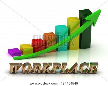 Workplace bright of gold letters and Graphic growth and green arrows on white background