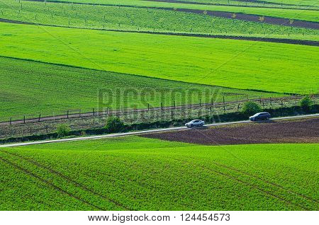Rural landscape with green wavy fields, road and cars, South Moravia, Czech Republic
