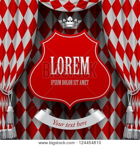Red and white rhomboids background with a red suspended decorative baroque signboard and silver crown. Square presentation artistic poster and placard. Vector illustration