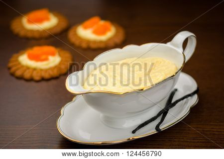 Homemade cream pastry in saucier with Vanilla pod ** Note: Shallow depth of field