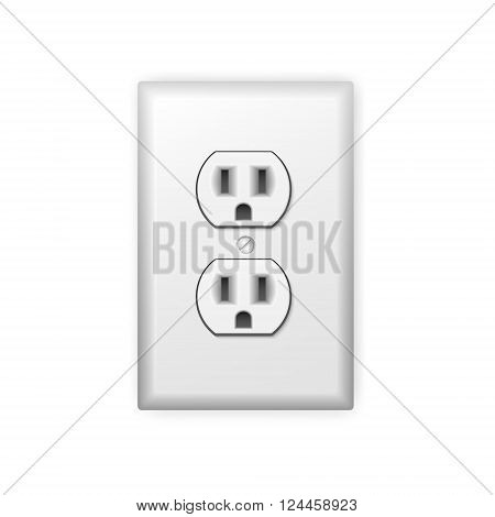 Realistic plastic power socket isolated on white. Vector EPS10 illustration.