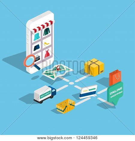 Flat 3D Web Isometric E-commerce, Electronic Business, Online Shopping, Payment, Delivery, Shipping