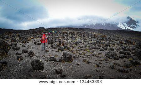 Tourists and porterson the way of Kilimangaro