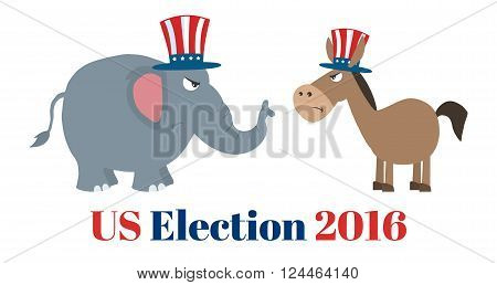 Angry Political Elephant Republican Vs Donkey Democrat. Illustration Flat Design Style Isolated On White With Text