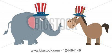 Angry Political Elephant Republican Vs Donkey Democrat. Illustration Flat Design Style Isolated On White