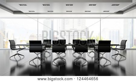 Interior of boardroom with black armchairs 3D rendering