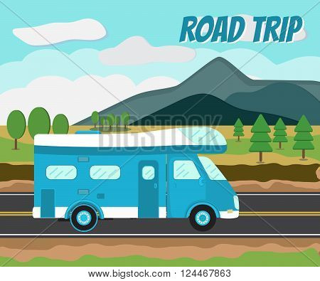 Camper car on a road. Journey by car. Road tip. Mobile home. Motorhome. poster