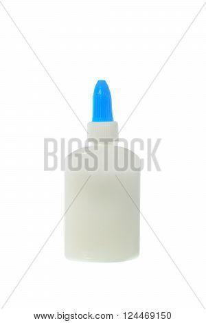 Bottle of white glue on white background