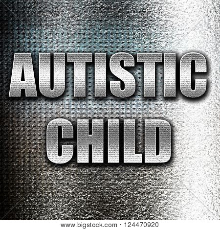 Grunge metal Autistic child sign with orange and black colors