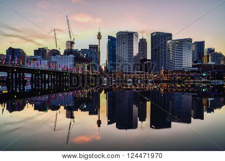 Sydney, Australia - September 6, 2015 : Sunset Of Darling Harbour, Adjacent To The City Centre Of Sy