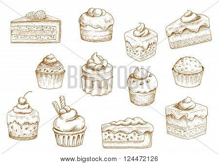 Sketches of scrumptious cupcakes and muffins in thin paper cups, berry pie and chocolate tiered cake, decorated by butter cream, whipped cream, fresh strawberries and cherries, chocolate drops and wafer tubes. Pastry and bakery shop objects