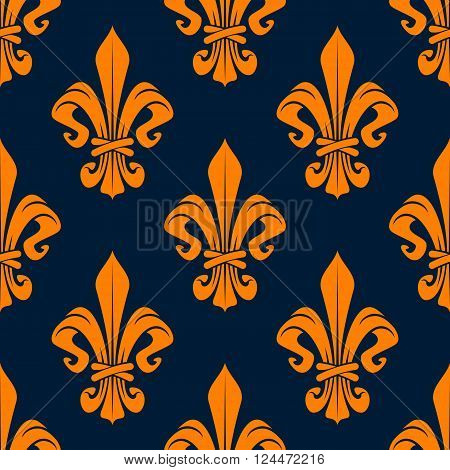 Elegant french fleur-de-lis seamless pattern with orange foliage compositions of tied leaf scrolls on dark blue background. Heraldry and monarchy, history or interior themes