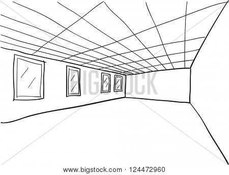 Simple Room Perspective Doodle Sketch