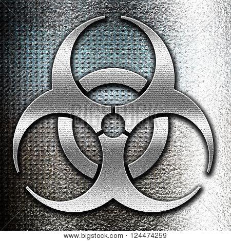 Grunge metal Bio hazard sign on a grunge background