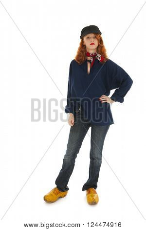 Funny female farmer from Holland isolated over white background
