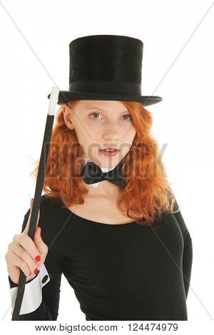 Portrait woman as dandy with black hat and stick isolated over white background