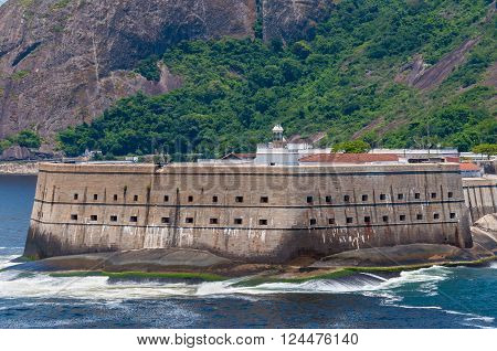 Located in Niteroi city, Rio de Janeiro, Brazil is called Fortaleza Santa Cruz. The historic Santa Cruz Fortress built by the Portuguese to guard the entrance to Guanabara Bay from invaders.