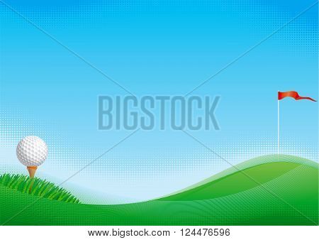Golf background. Vector background of golf ball and golf flag with green grass.