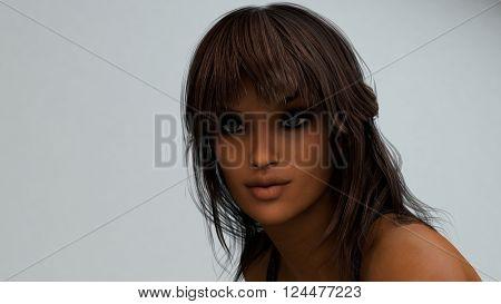 3d illustration brunette girl portrait
