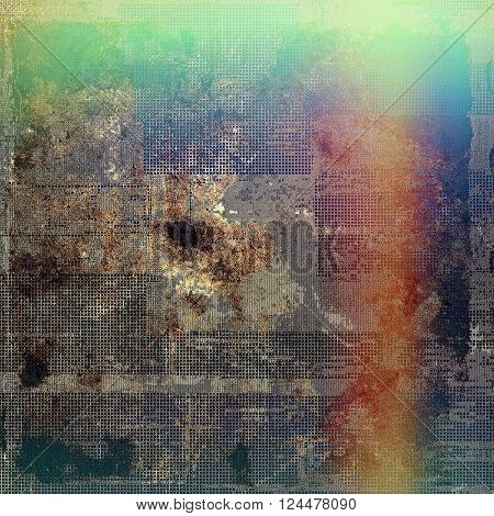 Old school frame or background with grungy textured elements and different color patterns: brown; green; blue; red (orange); purple (violet)