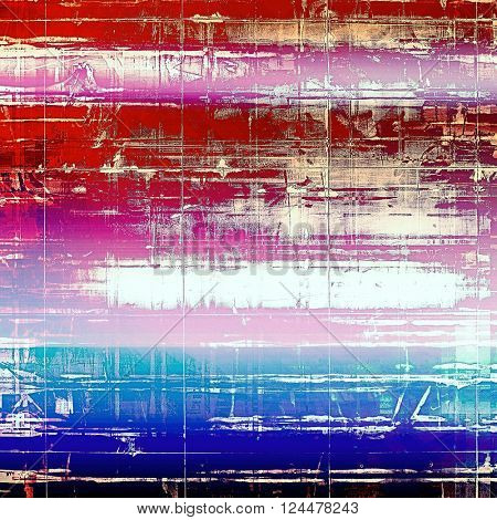 Oldest vintage background in grunge style. Ancient texture with different color patterns: blue; red (orange); purple (violet); white; pink