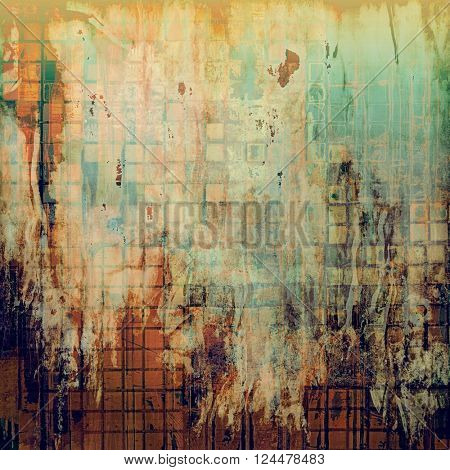 Vintage background - dirty ancient texture. Antique grunge backdrop with different color patterns: yellow (beige); brown; green; blue; red (orange)